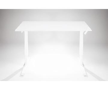 Multitable Adjustable Standing Desk w/ Manual Crank in White