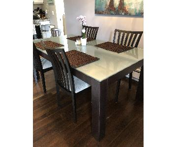 Room & Board Wood & Glass Dining Table w/ 6 Matching Chairs