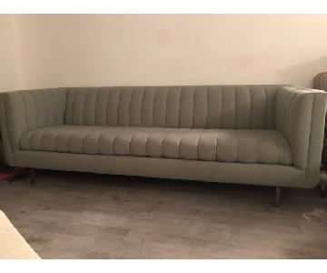 ABC Carpet & Home Sofa w/ Channel Tufting in Grey Wool
