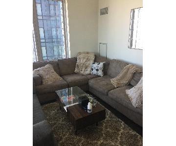 Bloomingdale's Suede Sectional Sofa