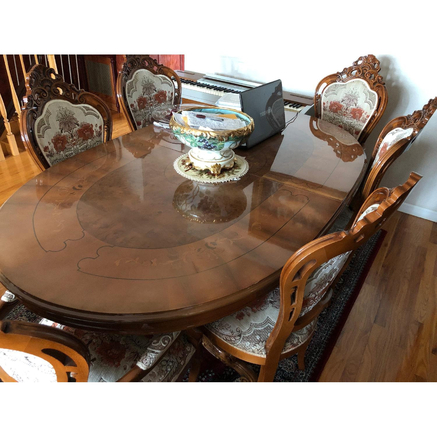 Venetian Natural Wood Italian Dining Table w/ 6 Chairs