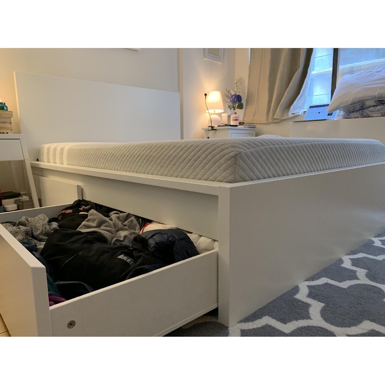 Tremendous Ikea Malm White Full Size Bed W Storage Drawers Aptdeco Customarchery Wood Chair Design Ideas Customarcherynet