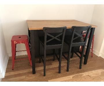 Ikea Kitchen/Dining Table w/ 4 Bar Stools