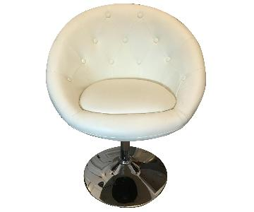 White Round Accent Desk Chair