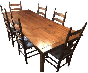 Reclaimed Barn Wood Farm House Table w/ 6 Chairs