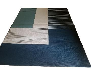 Teal Blue & White Patterned Area Rug