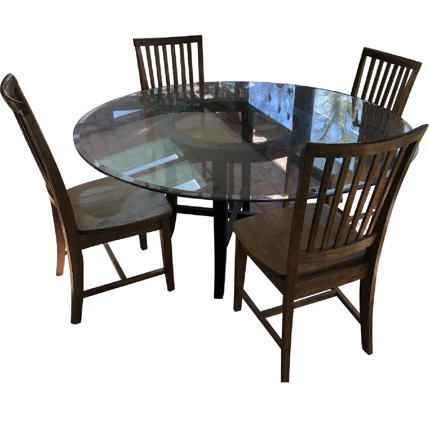 Pottery Barn Round Glass Dining Table w/ 4 Chairs