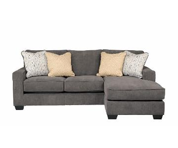 Ashley Reversible Chaise Sectional Sofa & 4 Throw Pillows