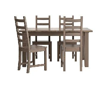 Ikea Extendable Dining Table w/ 4 Chairs in Grey/Brown