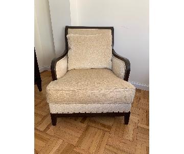 Ethan Allen Arm Chair w/ Dark Wood Trim
