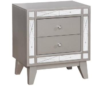 Coaster 2 Drawer Nightstand w/ Mirrored Panel Accents
