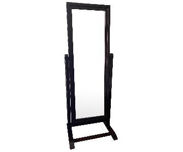 Dark Wood Floor Mirror w/ Stand
