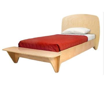 Ecotots Surfin Twin Bed Frame in Natural/Red