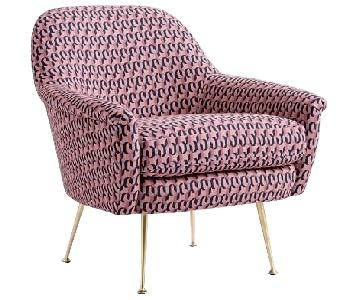 West Elm Phoebe Mid Century Chair in Pink Grapefruit/Brass