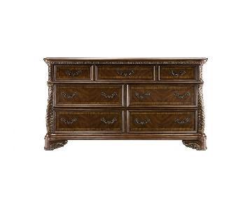 Raymour & Flanigan Catalina Cherry Wood Dresser w/ Mirror