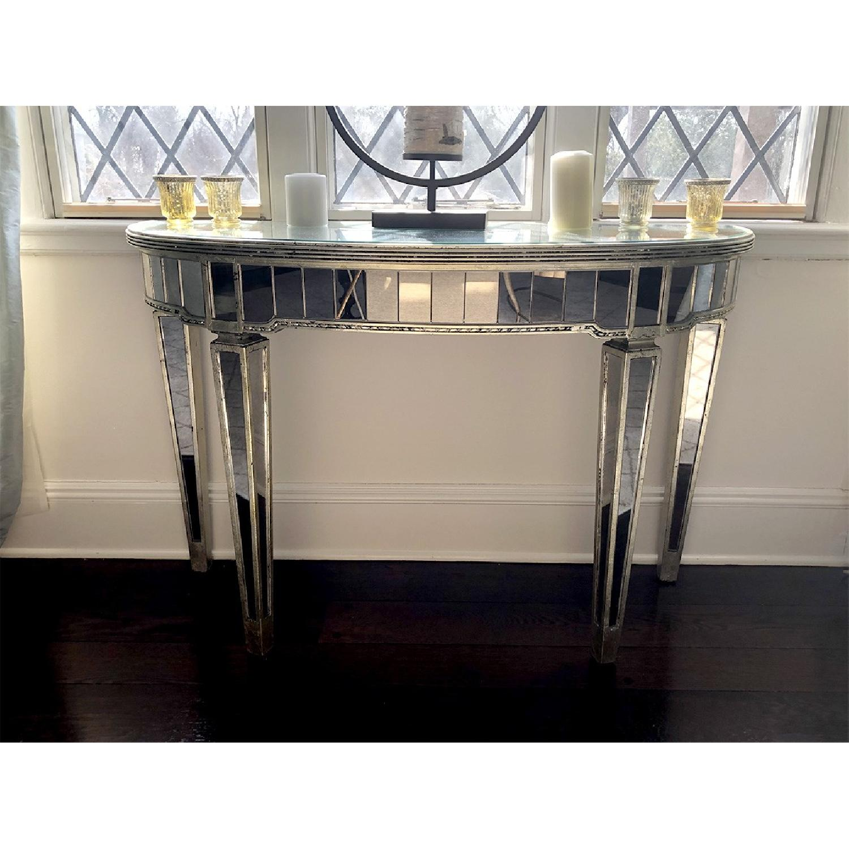 Martha Stewart Half-Moon Mirrored Table in Antiqued Finish-0