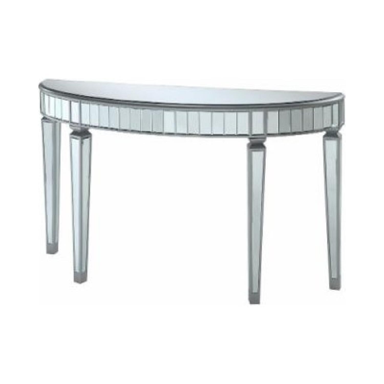 Martha Stewart Half-Moon Mirrored Table in Antiqued Finish