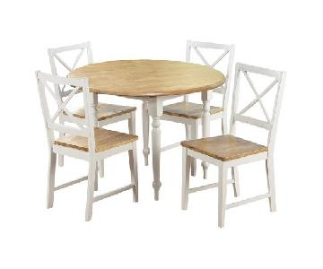 TMS White/Natural Round Drop-Leaf Dining Table w/ 4 Chairs