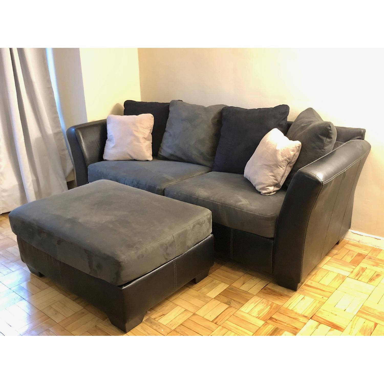 Prime Ashley Dark Gray Black Leather Sofa Ottoman Aptdeco Spiritservingveterans Wood Chair Design Ideas Spiritservingveteransorg