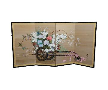 Vintage Japanese Flower Cart Folding Screen