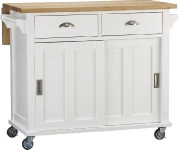 Crate & Barrel White Drop Leaf Kitchen Island w/ Wheels