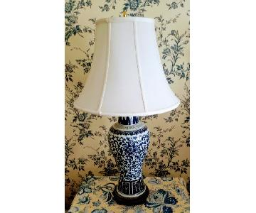 Chinese Patterned White & Blue Lamps