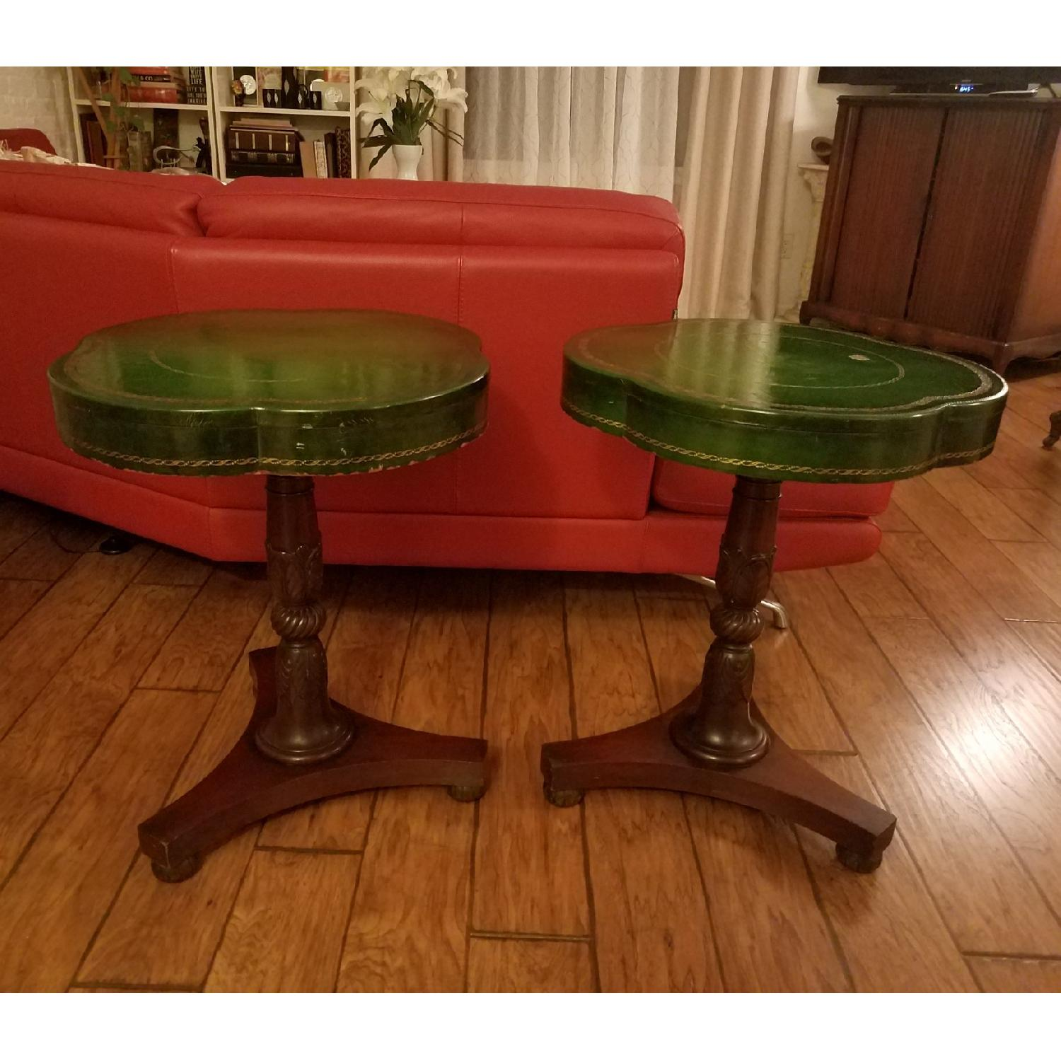 Circa 1910 Green Leather/Mahogany Gold Embossed End Tables-0
