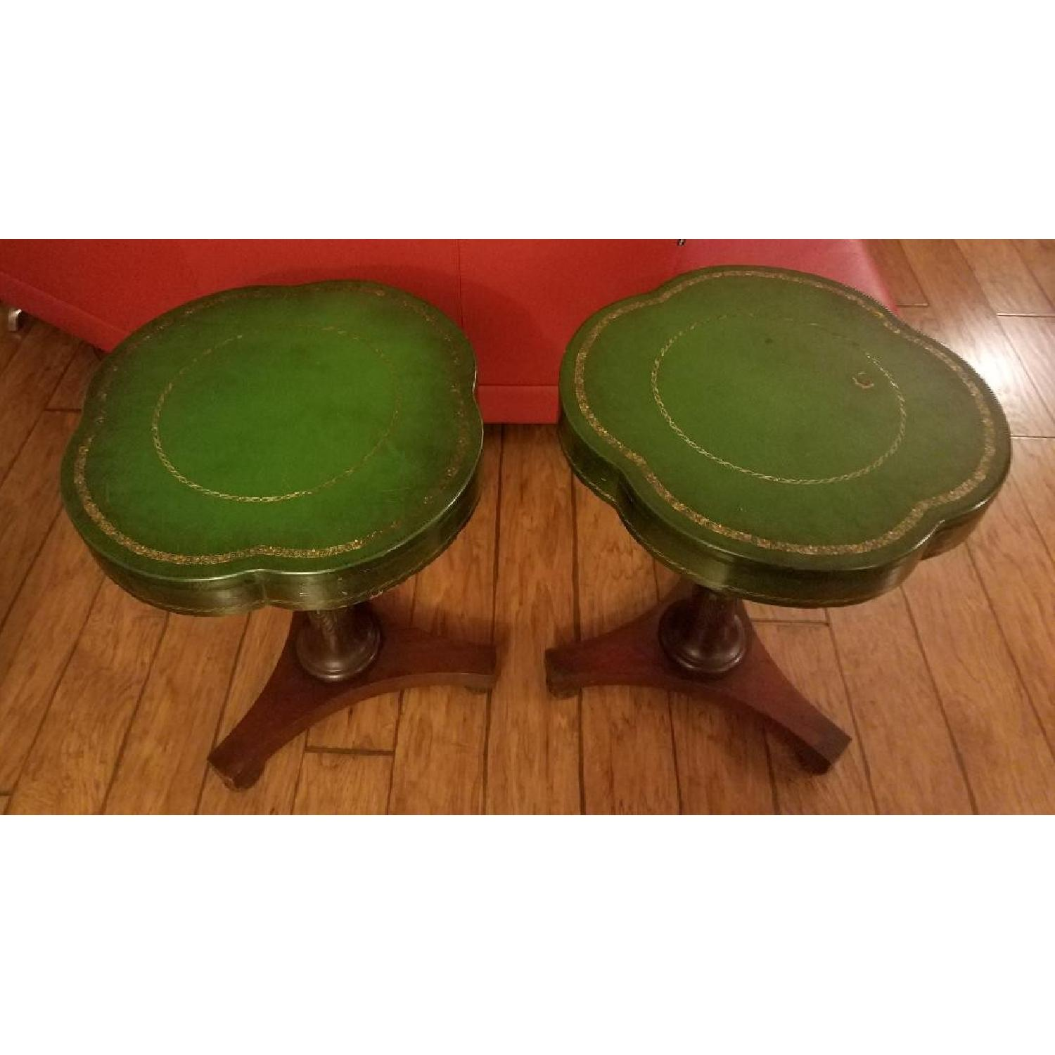 Circa 1910 Green Leather/Mahogany Gold Embossed End Tables-1