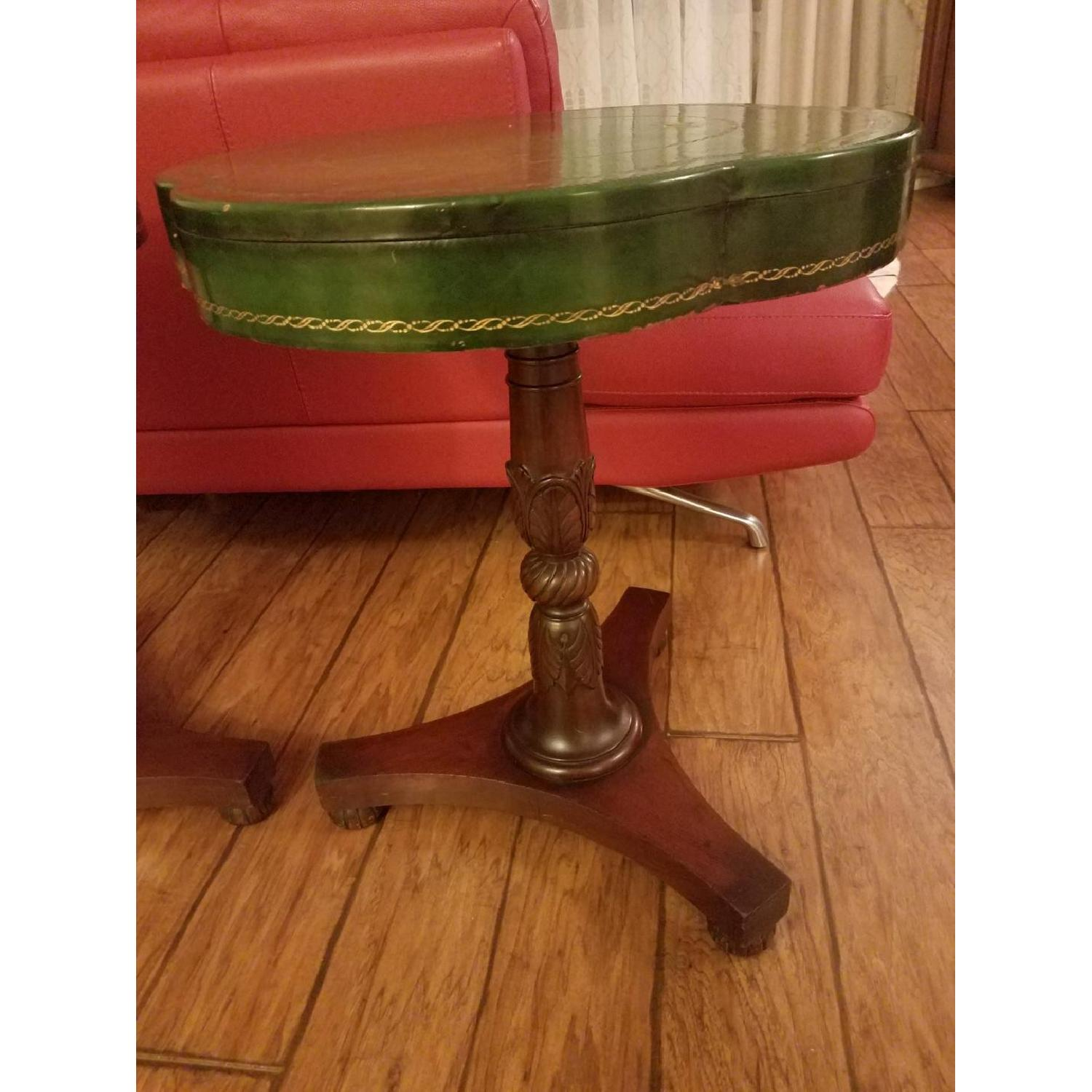 Circa 1910 Green Leather/Mahogany Gold Embossed End Tables-2