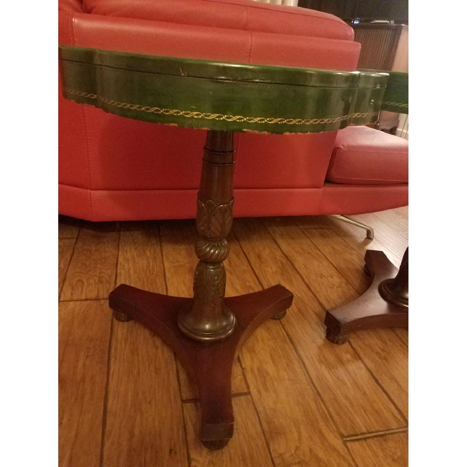 Circa 1910 Green Leather/Mahogany Gold Embossed End Tables-4