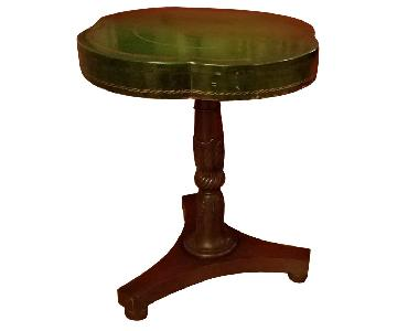 Circa 1910 Green Leather/Mahogany Gold Embossed End Tables