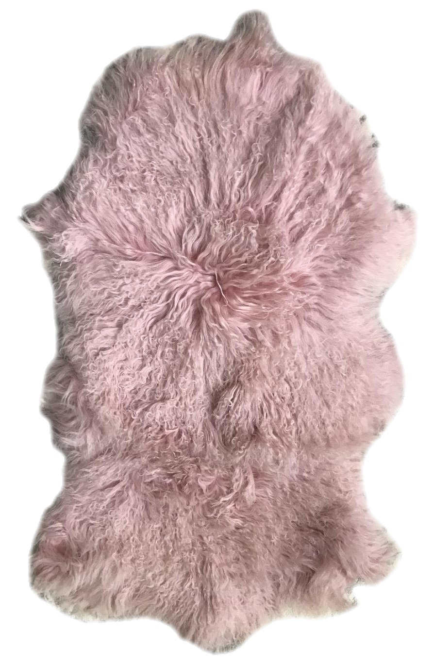 Pink Mongolian Lamb Rug/Throw