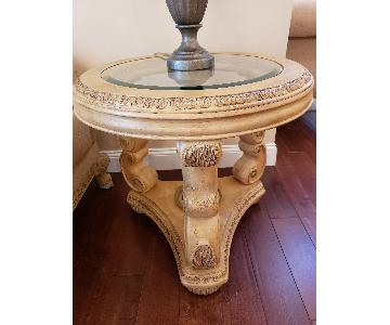 Schnadig Wood Glass Top Side Table