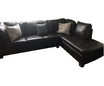 Espresso Bonded Leather Reversible Sectional Sofa & Ottoman