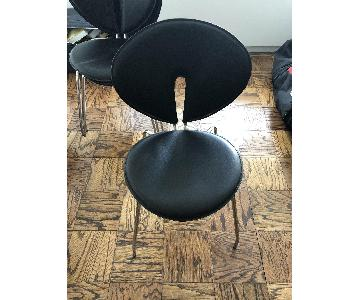 Faux Black Leather Dining Chairs