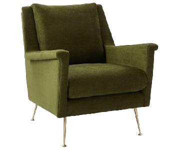 West Elm Carlo Mid-Century Chair in Distressed Velvet