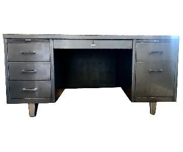Vintage Mid Century Brushed Steel Tanker Desk