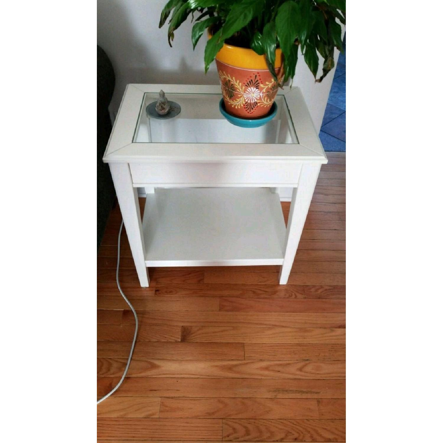Ikea Liatorp Side Table in White Glass-0