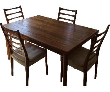 Danish Mid Century Modern Extendable Table w/ 4 Chairs