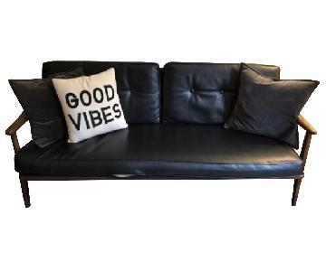 Vintage Mid-Century Modern Wood Frame Sofa