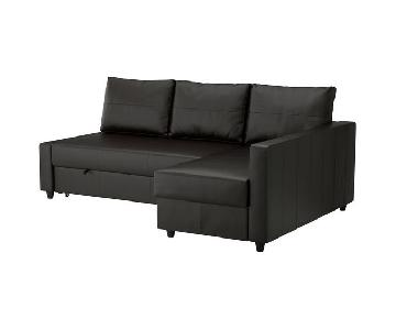 Ikea Leather Sleeper Sectional Sofa w/ Storage & Ottoman
