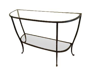 Pottery Barn Glass & Wrought Iron Side Table