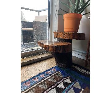 Vintage Log-Style Side Table