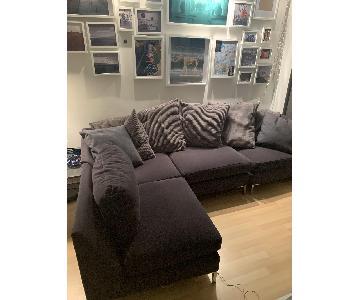 CB2 Grey 3-Piece Sectional Sofa