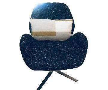West Elm Midnight Blue Tweed Swivel Chair
