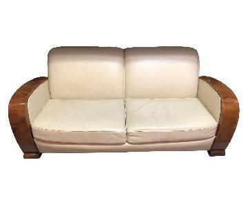 Italian Deco White Leather Sofa