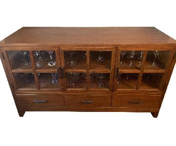 Crate & Barrel Wood Sideboard w/ Glass Doors