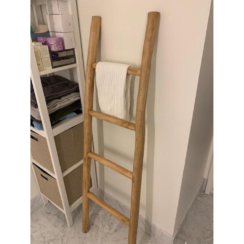 Crate Barrel Teak Ladder Towel Rack Aptdeco
