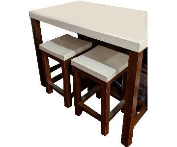 Crate & Barrel High Top Table w/ 2 Stools