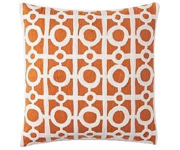 West Elm Orange Geometric Throw Pillow Cover